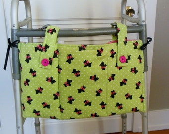 "Physical Rehab Child Walker Tote | Lime Dotted Swiss With Black Scottish Pups | 20"" X 11"" Bag 