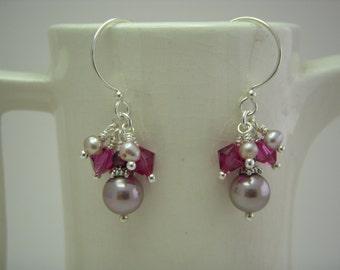 Pink pearl and crystal hoop earrings