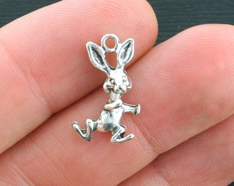 10 Rabbit Charms Antique Silver Tone 2 Sided - SC4077