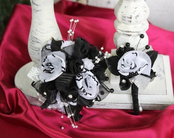 Black and white prom wristlet and boutonniere set, prom corsage, silk wristlet corsage