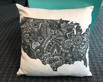 USA Art Print Throw Pillow, Throw Pillow Cover by JoHenna Design