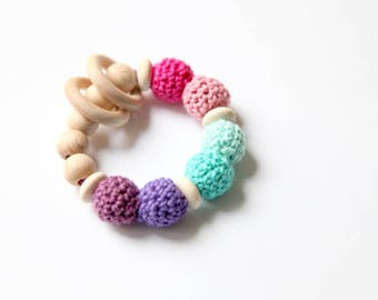 Teething toy with crochet mint, rosa, lila wooden beads and 2 wooden rings. Wooden rattle. Gift for baby girl.