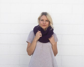 SALE 20% OFF - Crocheted / Knit Infinity Scarf - Purple-  Made to Order