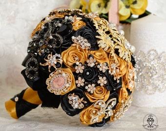 Black Goldenrod wedding brooch bouquet, Gold jewelry bridal Bouquet, Rhinestone crystal bouquet, Jewelry bridesmaid bouquet, broach bouquet