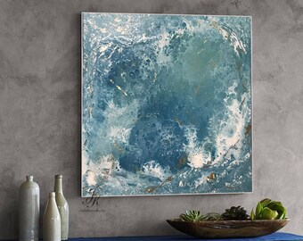 Abstract Oil Painting Gold Painting Fluid Painting Modern Art Original Painting with gold detail Abstract Painting Canvas by Julia Kotenko