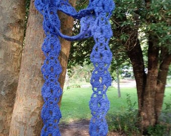 Skinny Flower Crochet Scarf
