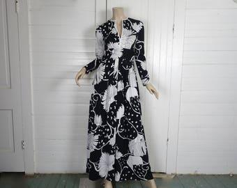 70s Maxi Dress in Black & White Floral + Swirls- 1970s Anne Fogarty- Empire Waist, Long Sleeve- Boho Hippie Formal