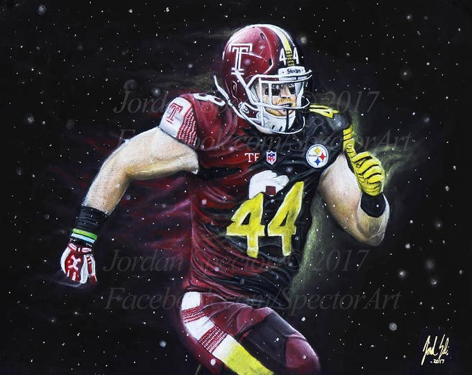 Tyler Matakevich Art Print - Temple Owls - Temple University - Temple Dorm Decor - Wall Art- Man Cave - Steelers Football - Gift Ideas