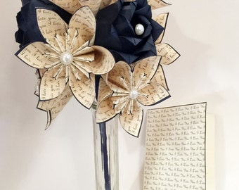 Love Dozen with Navy Roses- Free US Shipping, Vase & Card Included, 12 paper flowers, 1st wedding anniversary, gifts for her
