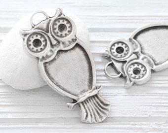 Owl pendant, large silver owl, animal pendant, silver owl, cute owl pendant, large silver pendant, boho findings, cozy owl, animal findings