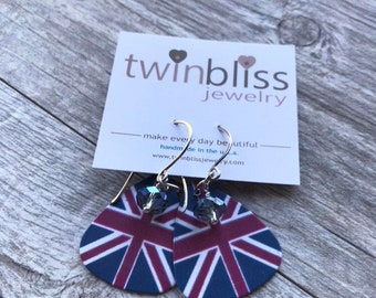British Flag (Union Jack) guitar pick earrings