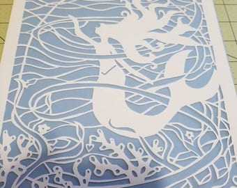 Mermaid, papercut, decoration, decor, wall art, paper art, home decor, ocean, princess, girl, water, beach