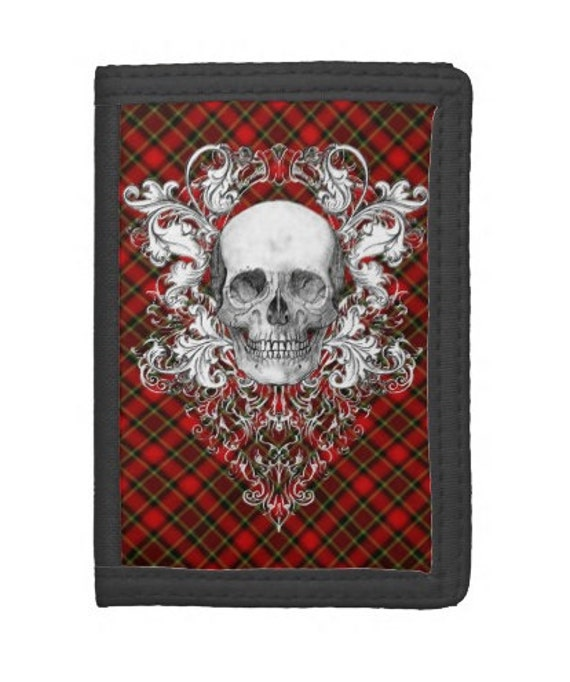 Punk Plaid and Skull crest wallet