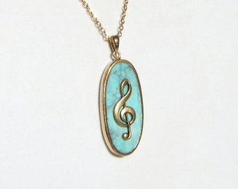 BLUE MUSIC Necklace, Gold Treble Clef,  Blue Jasper Stone, Music Pendant, Music Note Necklace, Music Teacher Gift, Music Student, Music Gift