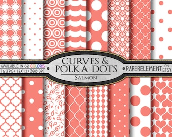 Salmon Polka Dot Digital Paper: Salmon Geometric Paper - White and Salmon Pink Patterns for Digital Scrapbook Printables