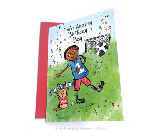 Football birthday card multicultural cards african american like this item bookmarktalkfo Image collections