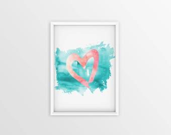 Watercolor Heart Print, Turquoise and Coral Wall Decor, Pink Nursery Wall Decor, Printable Wall Art, Pink Girls Bedroom Decor, Nursery Art
