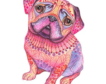 "Pug dog, high quality art print, hot pink ""Pugberry"", size 8'x10'/A4 (No. 56)"