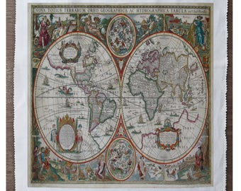 Map fabric etsy vintage world map sewing gumiabroncs Gallery
