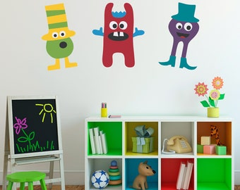 Monster Wall Decals Set of 3 Vinyl Wall Art - Children Wall Decals - Group 2