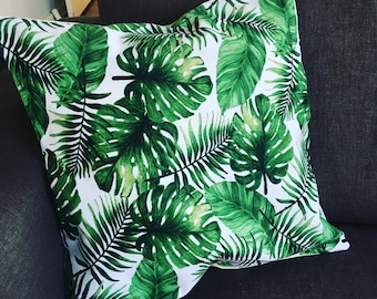 Retro, tropical, ferns greenery cushion cover