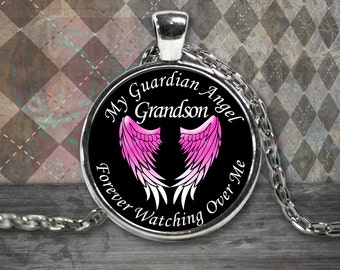 Guardian Angel Necklace - Grandson - My Grandson is my Guardian Angel Pendant - Angel Necklace - Memorial Jewelry Necklace for Grandson