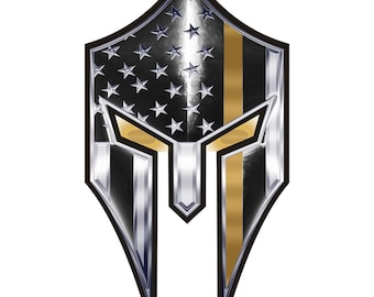 Warrior Spartan Thin Gold Line Reflective Decal - 2 in SKU: D777-0001