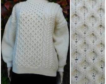 80s CREAM ivory Pure New Wool oversized aran cable knit sweater / jumper crew neck M ~ L
