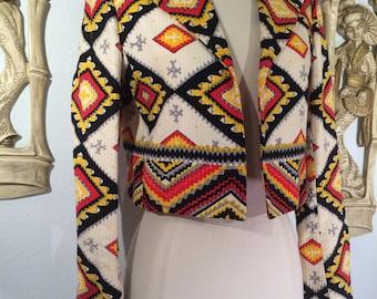 Vintage Cropped Southwestern Jacket -- Joan Leslie by Kasper