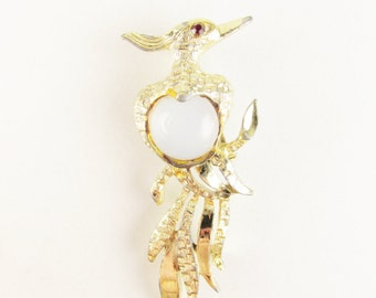 Vintage Bird Brooch with Moonstone Jelly Belly