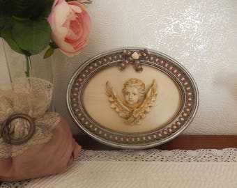 small table with oval antique old silver with bow and lace Angel