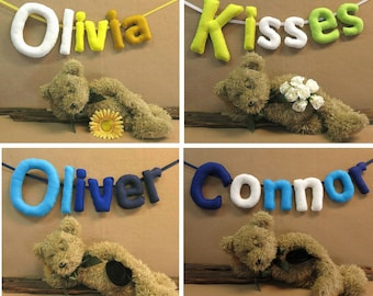 Custom Name Banner, Personalized Felt Name Bunting, Baby Name Bedroom Garland