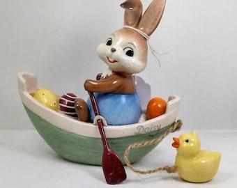 Goebel porcelain rabbit on boat with duck 15 cm