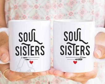 "gifts for best friends,unique friendship gifts, christmas gift best friend mugs ""soul sisters"" mug set,best friend college coffee mug MU282"