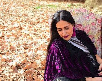 Feel Elegant and Sophisticated with the Purple Velvet Cape Chic Kimono Dress High quality Handmade – Mini Length