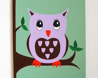 Owl Nursery Art, Woodland Nursery decor, Owl Painting, Forest Friend, Baby Girl decor, Owl Art, purple, 10 x 12 original canvas