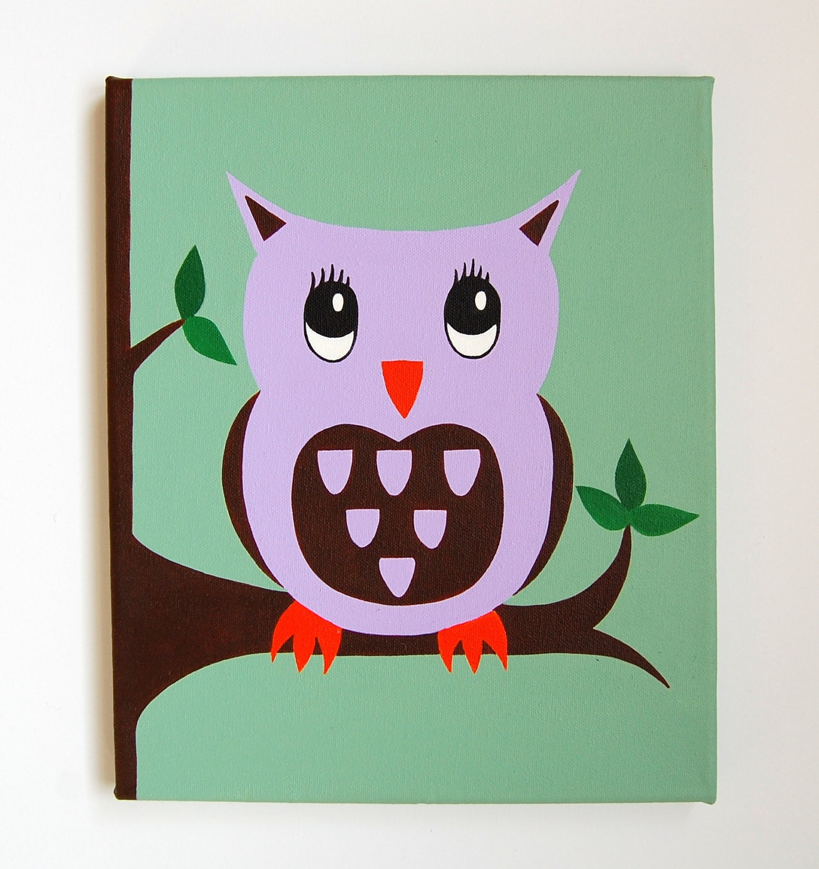 Eule-Kinderzimmer-Kunst Wald Kinderzimmer Dekor Owl Malerei