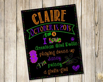Custom Design Personalized Birthday Chalkboard Sign Poster! Any age and information! Choose your size! Digital File DOWNLOAD!
