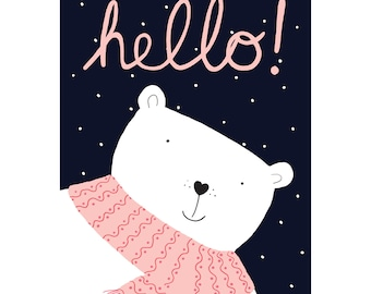 Hello Polar Bear Just Because Greetings Card
