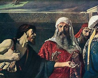 "Edward Armitage 1866 Oil Painting ""The Remorse Of Judas"" Vintage Classic Artwork 1930 Biblical Book Print"