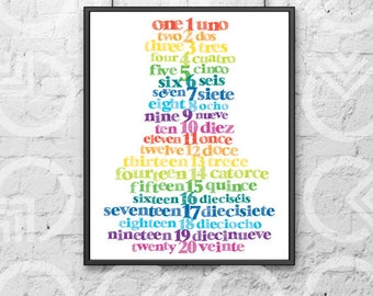 "Instant Download - Printable - 11""x14"" Art Print - Spanish & English Numbers 1-20 - Nursery Decor - Bilingual Baby - Colorful - Educational"
