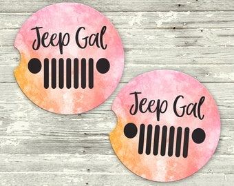 Car Coasters - Jeep Car Coasters - Jeep Cup Holder Coaster - Car Coaster Set - Jeep Gal - Coasters for Car - Gift for Jeep Lover