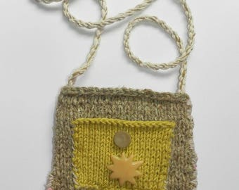 Hand Knit Tan, Yellow, Pink Shoulder Bag - Moon and Sun
