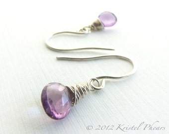 Amethyst Earrings Silver or Gold - purple dangle drop Eco-friendly sterling wire wrapped February Birthstone Gift lavendar