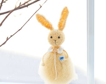 Knitted bunny doll, Art doll bunny room decor Easter rabbit decoration Easter rabbit figurines Easter rabbit plush Fluffy bunny rabbit doll
