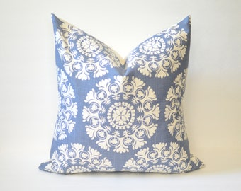 Blue Stamp Pillow Cover