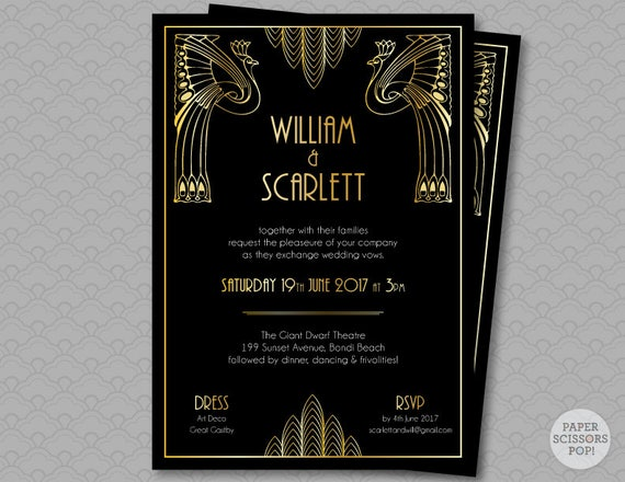 Great Gatsby Wedding Invitation Roaring 20s Party Art