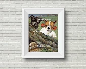 Boy's Room Art, Girl's Room Art, Family Room Art Print, Kitchen Art, Dog Art, Scared by a Rabbit Restored Antique Art   #197
