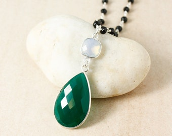Silver White Opalite & Green Onyx Teardrop Necklace - Black Spinel Chain