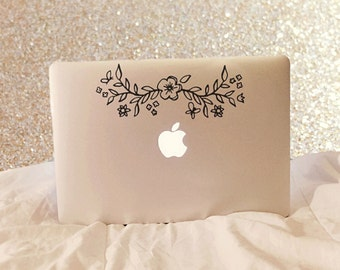 Flower Crown , Laptop Stickers, Laptop Decal, Macbook Decal, Car Decal, Vinyl Decal